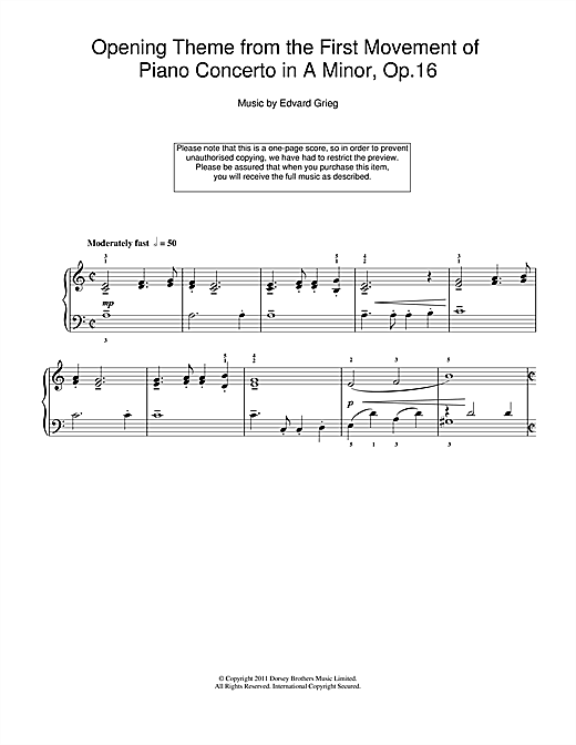 Edvard Grieg Opening Theme from Piano Concerto in A Minor sheet music notes printable PDF score