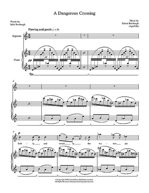 Edwin Roxburgh A Dangerous Crossing (for soprano & piano) sheet music notes printable PDF score