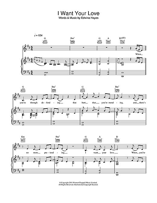 Edwina Hayes I Want Your Love sheet music notes printable PDF score