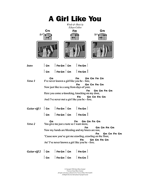 Edwyn Collins A Girl Like You sheet music notes and chords. Download Printable PDF.