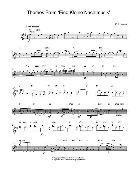 Wolfgang Amadeus Mozart Eine Kleine Nachtmusik sheet music notes printable PDF score