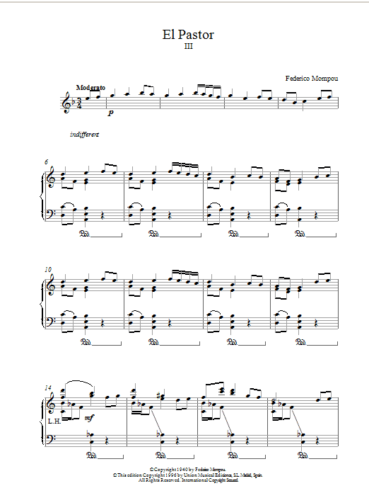 Mompou El Pastor III sheet music notes printable PDF score
