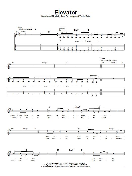 Box Car Racer Elevator sheet music notes printable PDF score