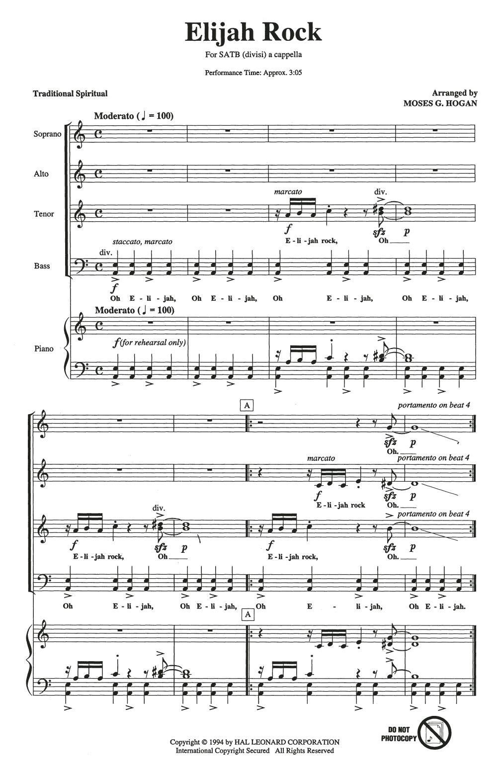 Traditional Spiritual Elijah Rock (arr. Moses Hogan) sheet music notes printable PDF score
