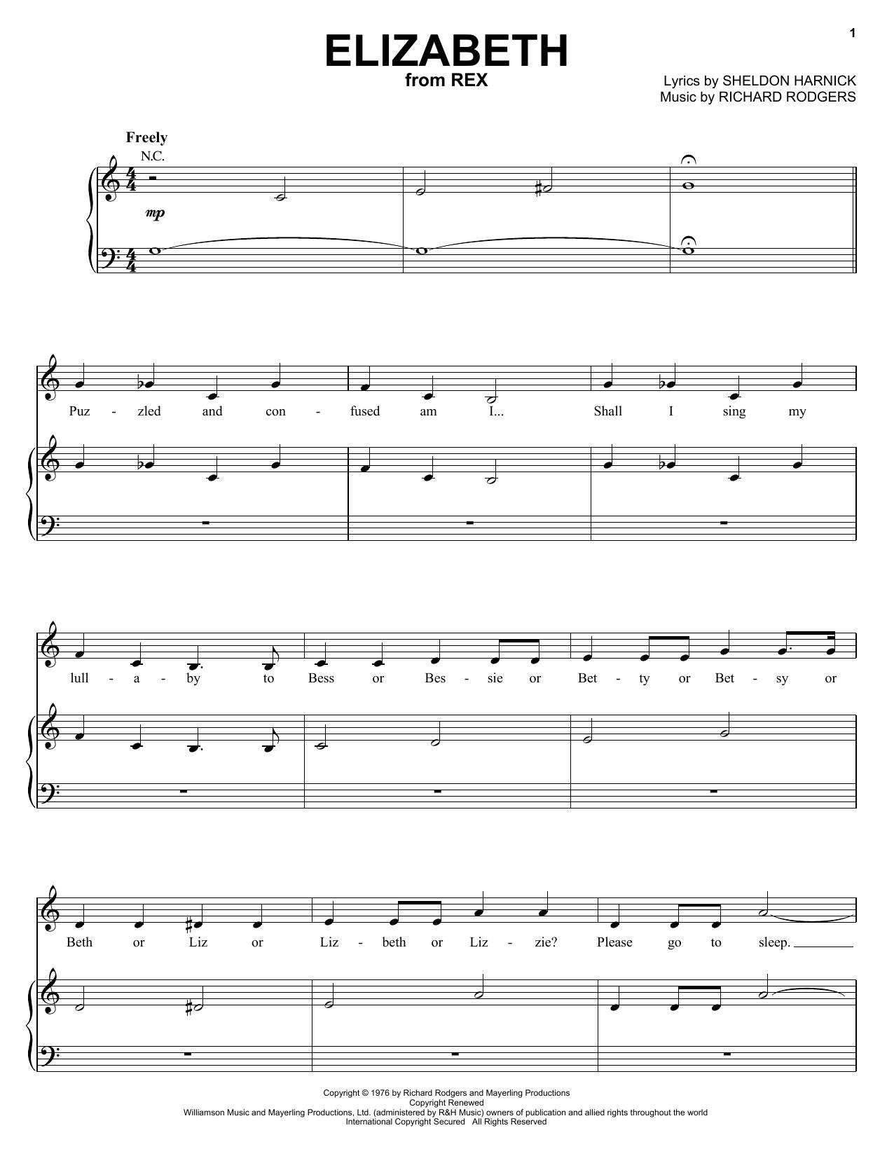 Richard Rodgers Elizabeth sheet music notes printable PDF score