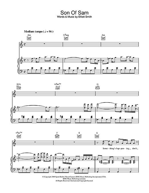 Elliott Smith Son Of Sam sheet music notes printable PDF score