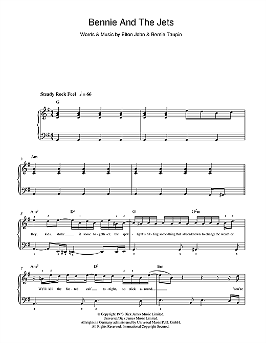 Elton John Bennie And The Jets sheet music notes and chords. Download Printable PDF.