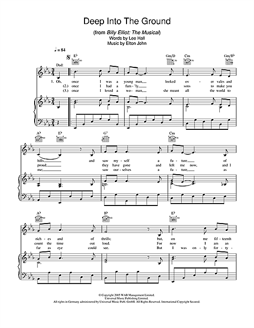 Elton John Deep Into The Ground (from Billy Elliot: The Musical) sheet music notes and chords. Download Printable PDF.