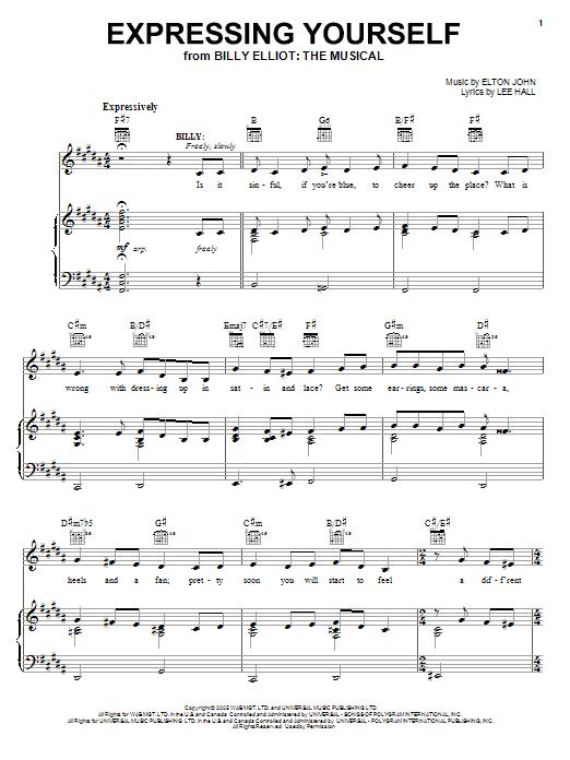 Elton John Expressing Yourself sheet music notes and chords. Download Printable PDF.