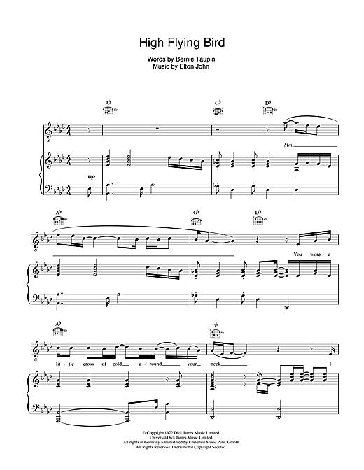 Elton John High Flying Bird sheet music notes and chords. Download Printable PDF.