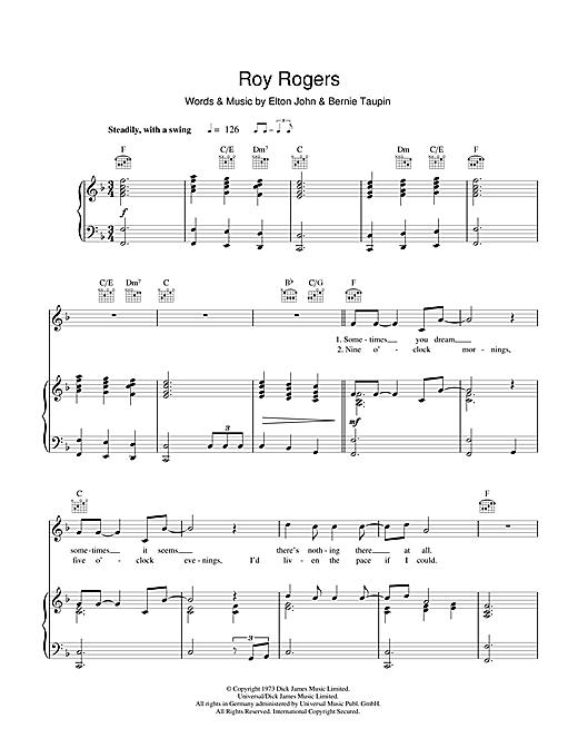 Elton John Roy Rogers sheet music notes and chords. Download Printable PDF.