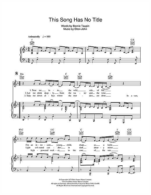 Elton John This Song Has No Title sheet music notes and chords. Download Printable PDF.
