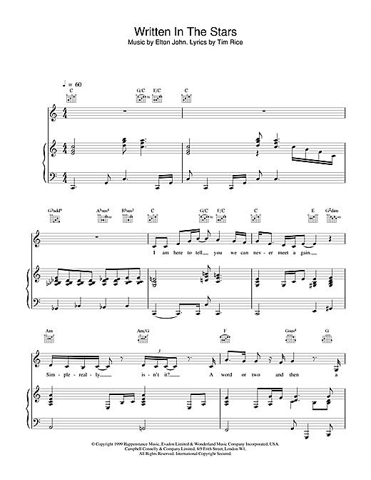 Elton John & LeAnn Rimes Written In The Stars sheet music notes printable PDF score