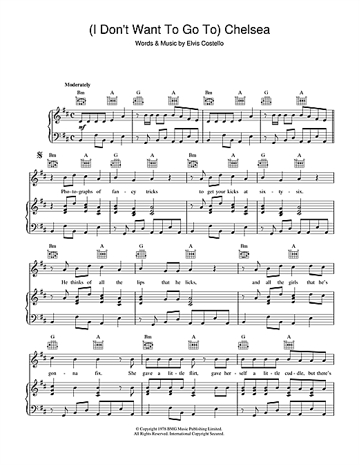 Elvis Costello (I Don't Want To) Go To Chelsea sheet music notes printable PDF score