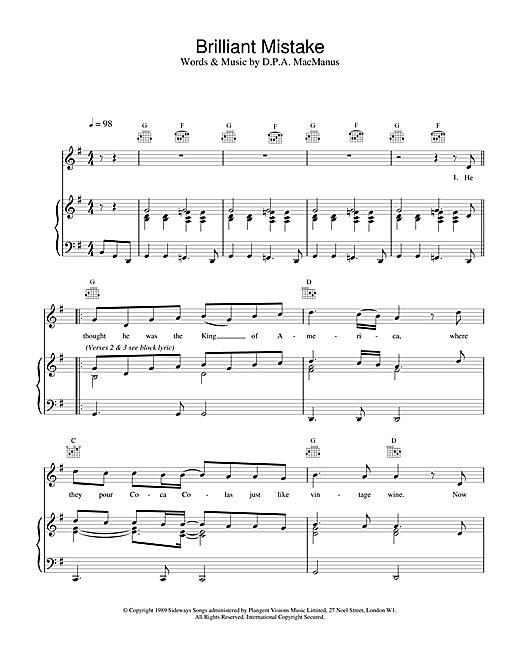 Elvis Costello Brilliant Mistake sheet music notes printable PDF score