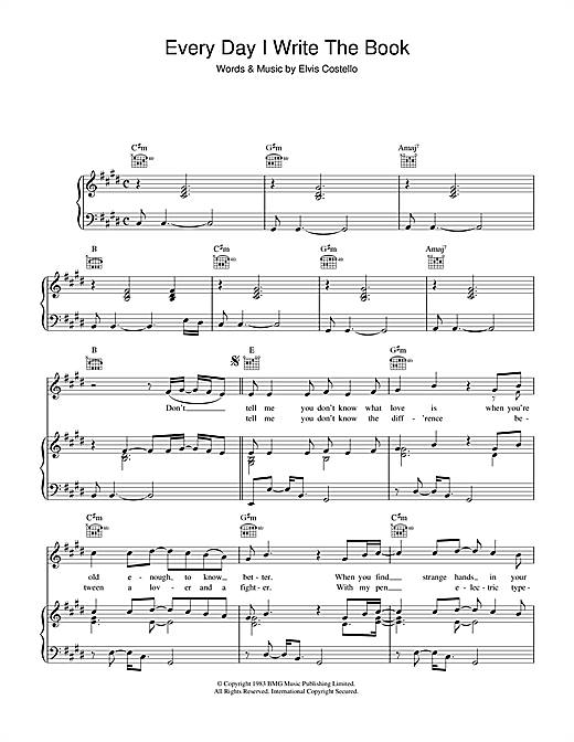 Elvis Costello Every Day I Write The Book sheet music notes printable PDF score