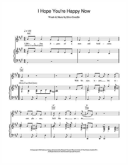 Elvis Costello I Hope You're Happy Now sheet music notes printable PDF score