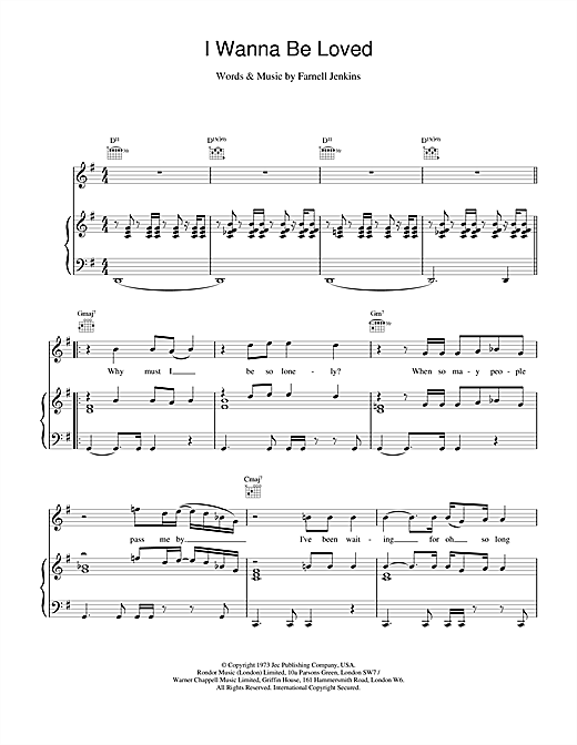 Elvis Costello I Wanna Be Loved sheet music notes printable PDF score