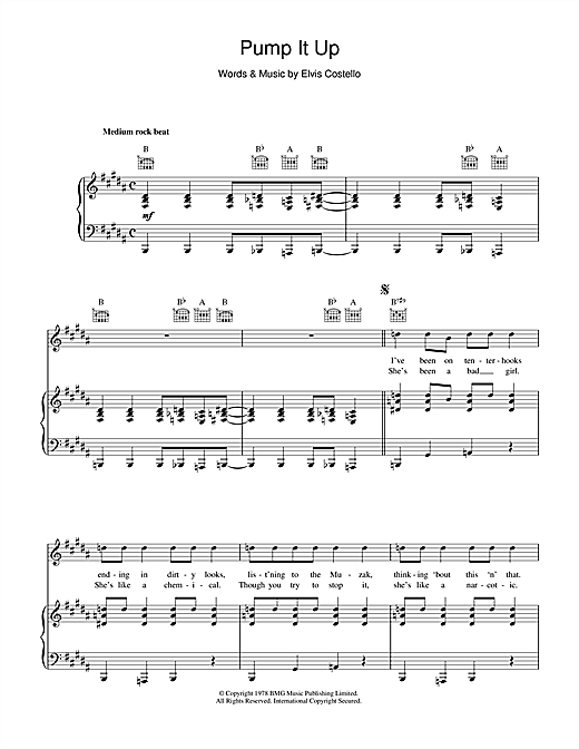Elvis Costello Pump It Up sheet music notes and chords. Download Printable PDF.