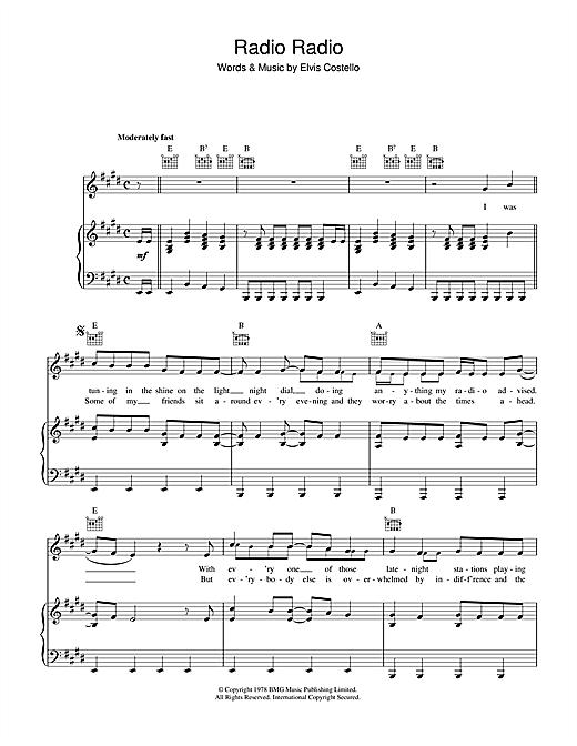 Elvis Costello Radio, Radio sheet music notes printable PDF score