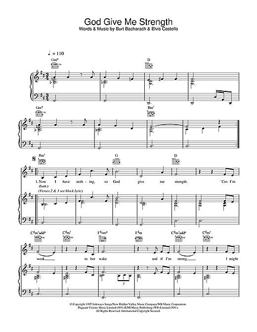 Elvis Costello and Burt Bacharach God Give Me Strength sheet music notes printable PDF score