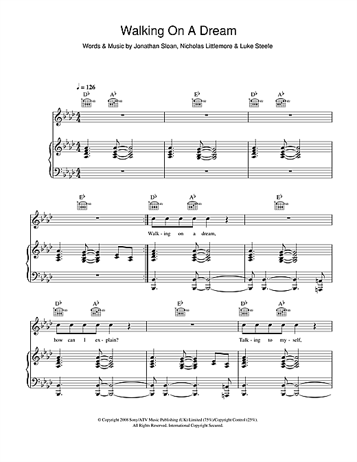 Empire Of The Sun Walking On A Dream sheet music notes printable PDF score