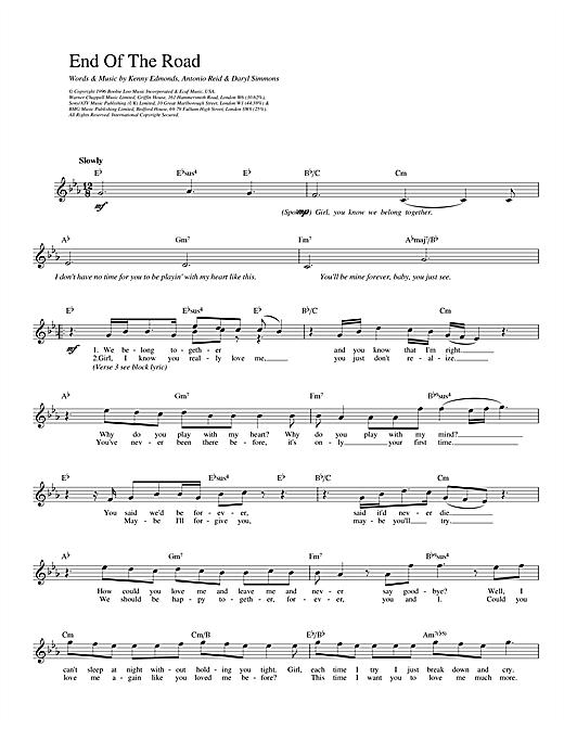 Boyz II Men End Of The Road sheet music notes printable PDF score