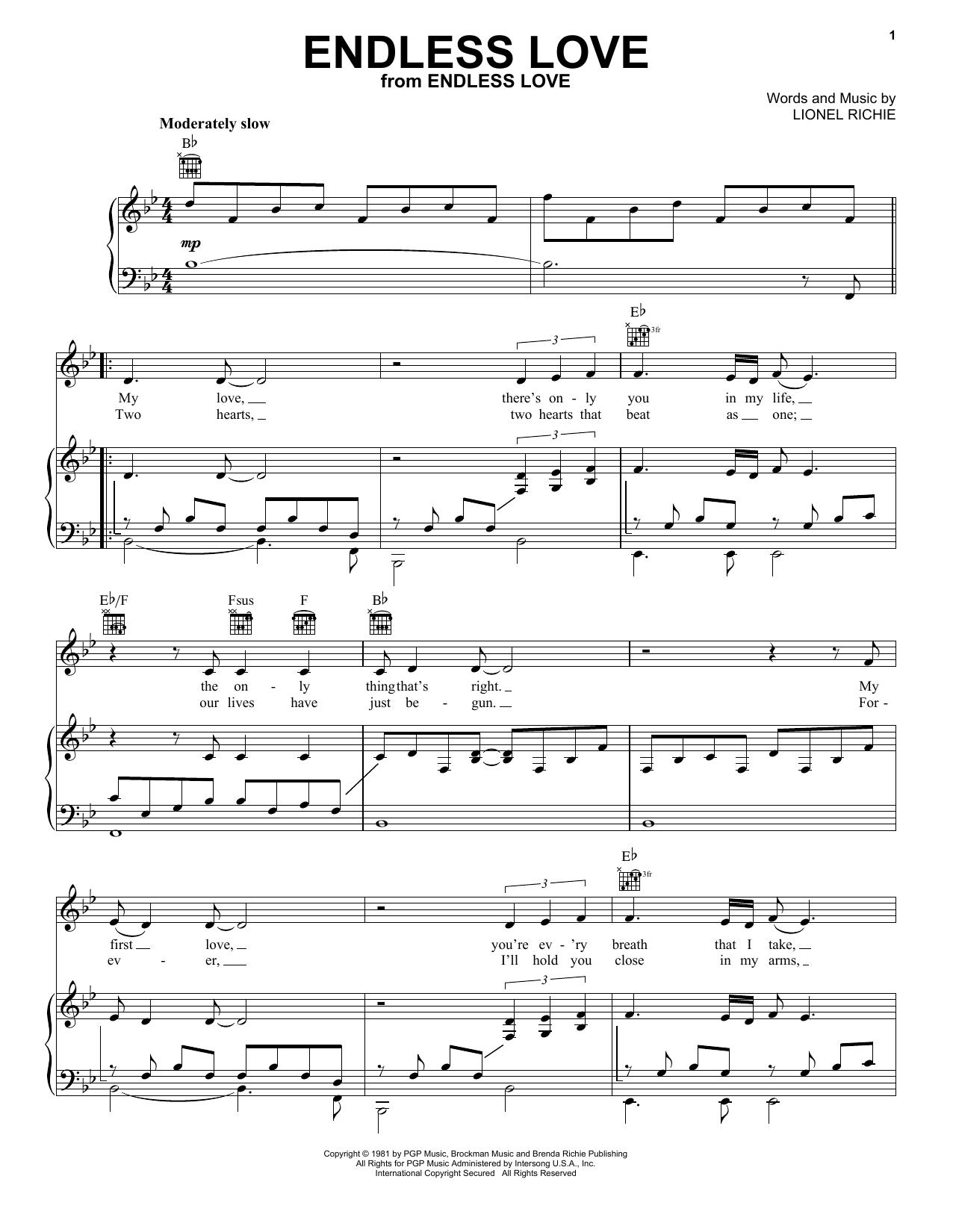 Lionel Richie & Diana Ross Endless Love sheet music notes printable PDF score