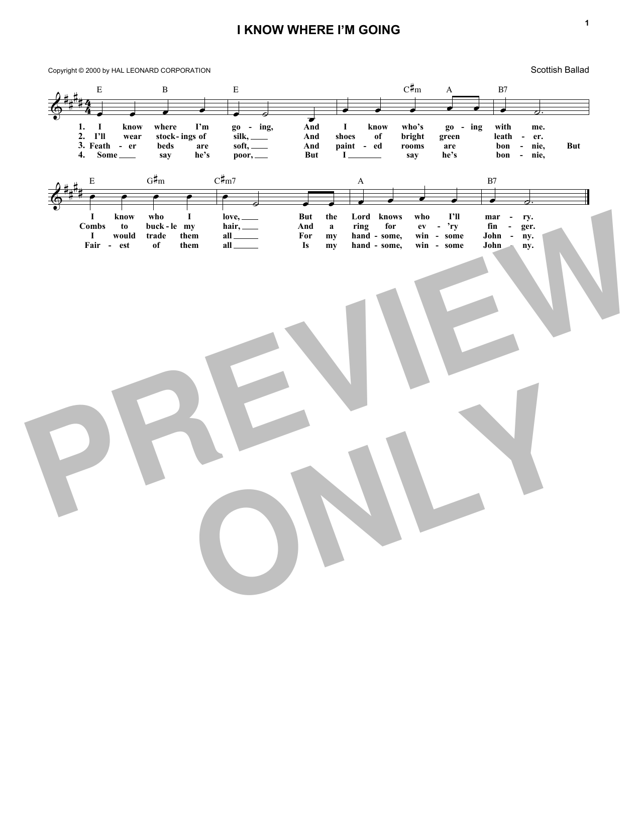 English Folksong I Know Where I'm Goin' sheet music notes and chords - download printable PDF.