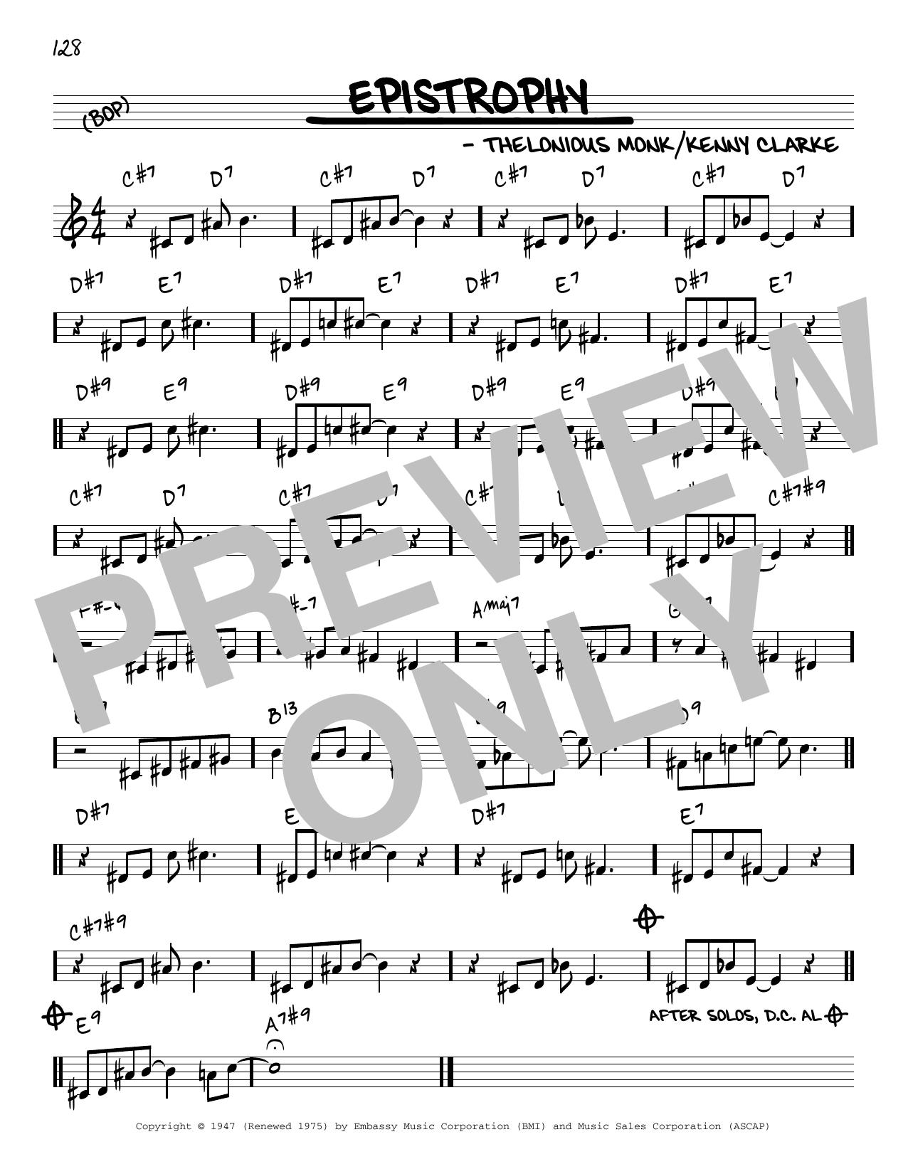 Thelonious Monk Epistrophy [Reharmonized version] (arr. Jack Grassel) sheet music notes printable PDF score