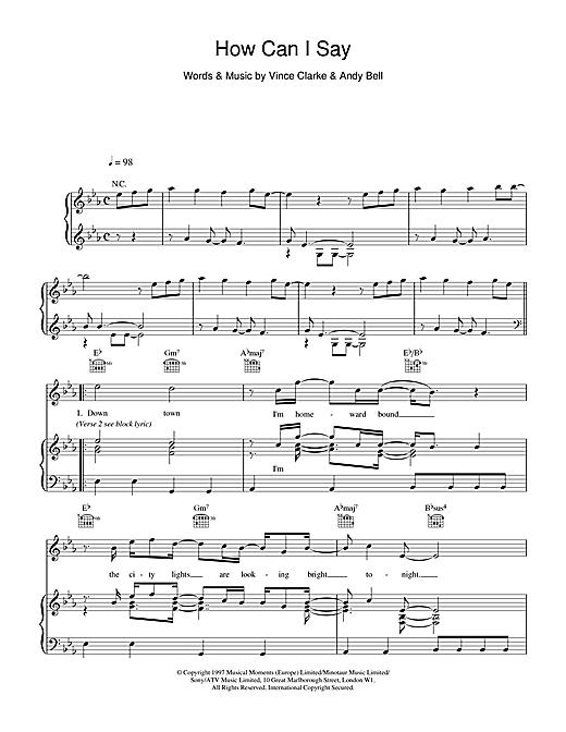 Erasure How Can I Say sheet music notes printable PDF score