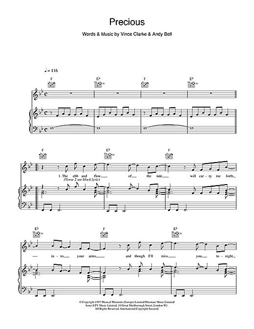 Erasure Precious sheet music notes printable PDF score