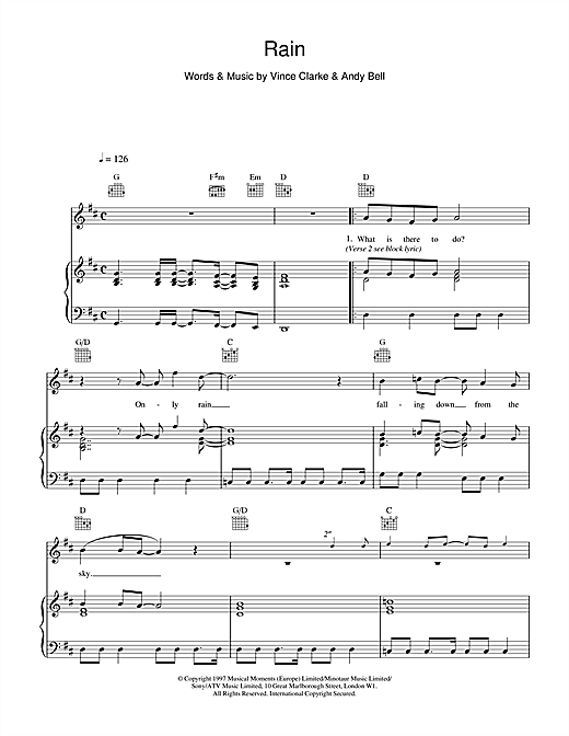Erasure Rain sheet music notes printable PDF score