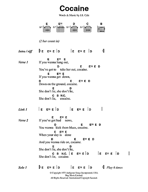 Eric Clapton Cocaine sheet music notes printable PDF score