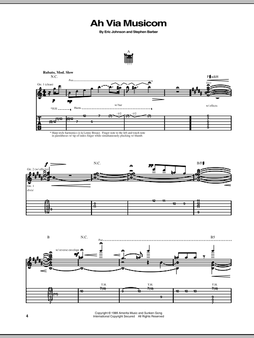 Eric Johnson Ah Via Musicom sheet music notes and chords - download printable PDF.