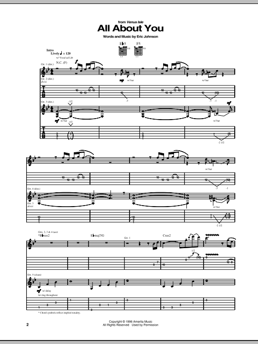 Eric Johnson All About You sheet music notes and chords. Download Printable PDF.