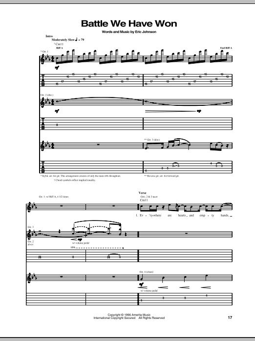 Eric Johnson Battle We Have Won sheet music notes and chords. Download Printable PDF.