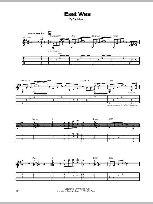 Eric Johnson East Wes sheet music notes and chords - download printable PDF.