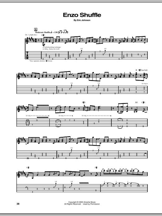 Eric Johnson Enzo Shuffle sheet music notes and chords. Download Printable PDF.