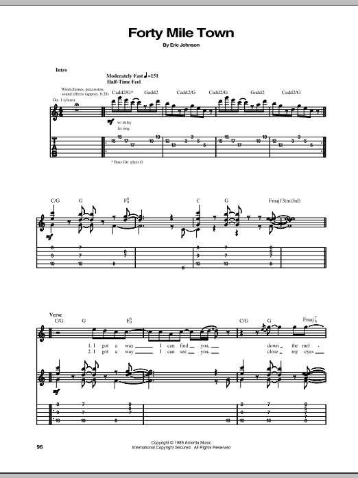 Eric Johnson Forty Mile Town sheet music notes and chords. Download Printable PDF.