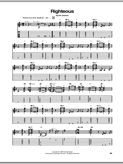 Eric Johnson Righteous sheet music notes and chords - download printable PDF.