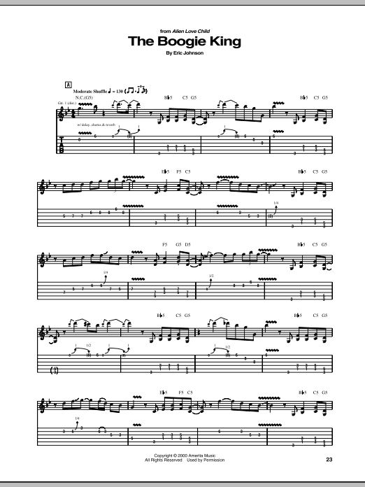 Eric Johnson The Boogie King sheet music notes and chords. Download Printable PDF.