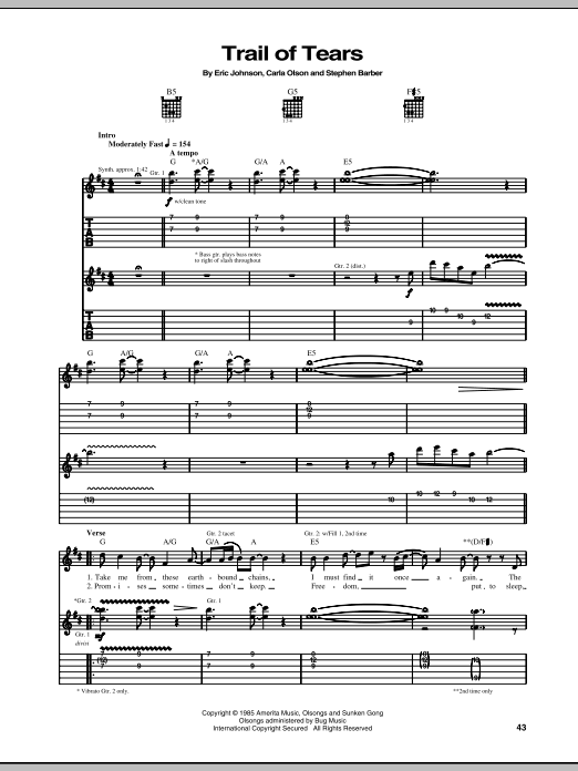 Eric Johnson Trail Of Tears sheet music notes and chords - download printable PDF.