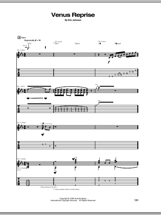 Eric Johnson Venus Reprise sheet music notes and chords. Download Printable PDF.