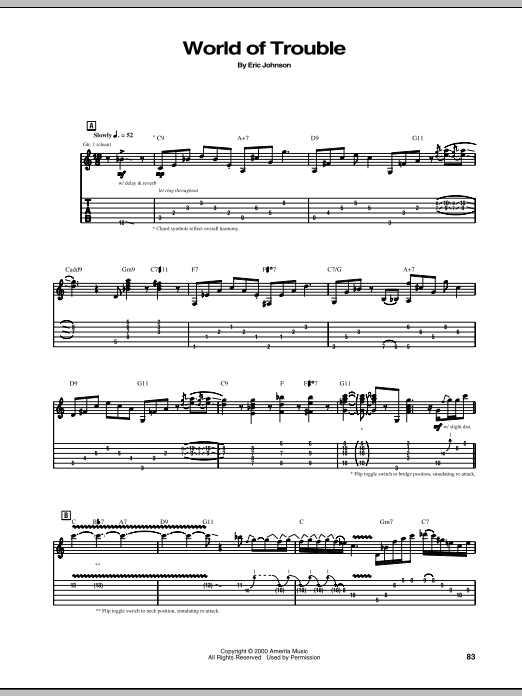 Eric Johnson World Of Trouble sheet music notes and chords - download printable PDF.