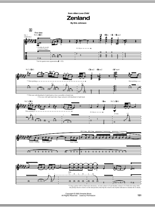 Eric Johnson Zenland sheet music notes and chords. Download Printable PDF.