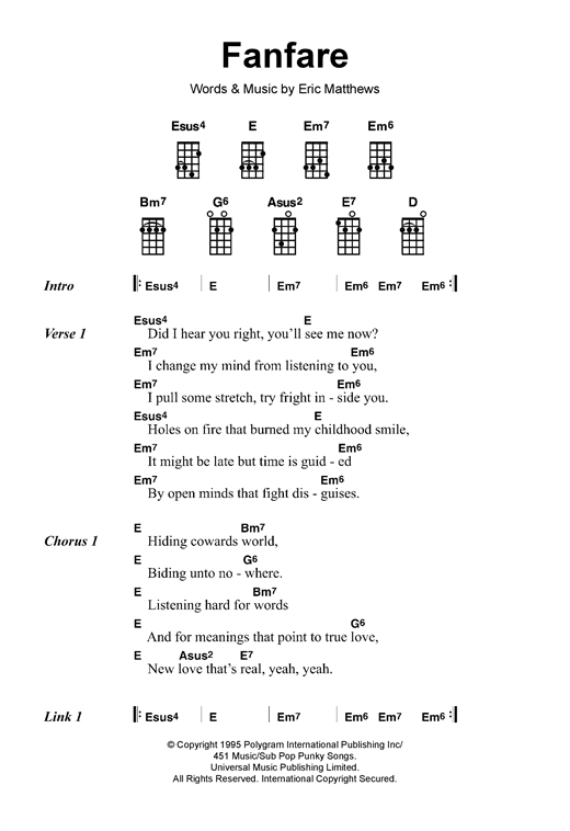 Eric Matthews Fanfare sheet music notes and chords - download printable PDF.