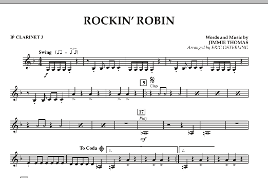 Eric Osterling Rockin' Robin - Bb Clarinet 3 sheet music notes and chords. Download Printable PDF.