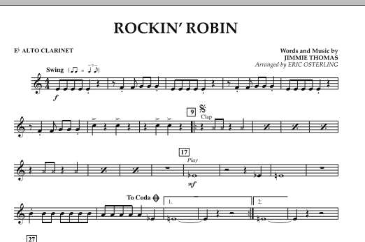Eric Osterling Rockin' Robin - Eb Alto Clarinet sheet music notes and chords. Download Printable PDF.