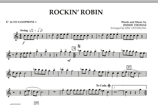 Eric Osterling Rockin' Robin - Eb Alto Saxophone 1 sheet music notes and chords. Download Printable PDF.